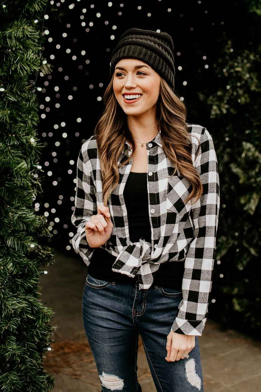 Black Plaid Fur Lined Top
