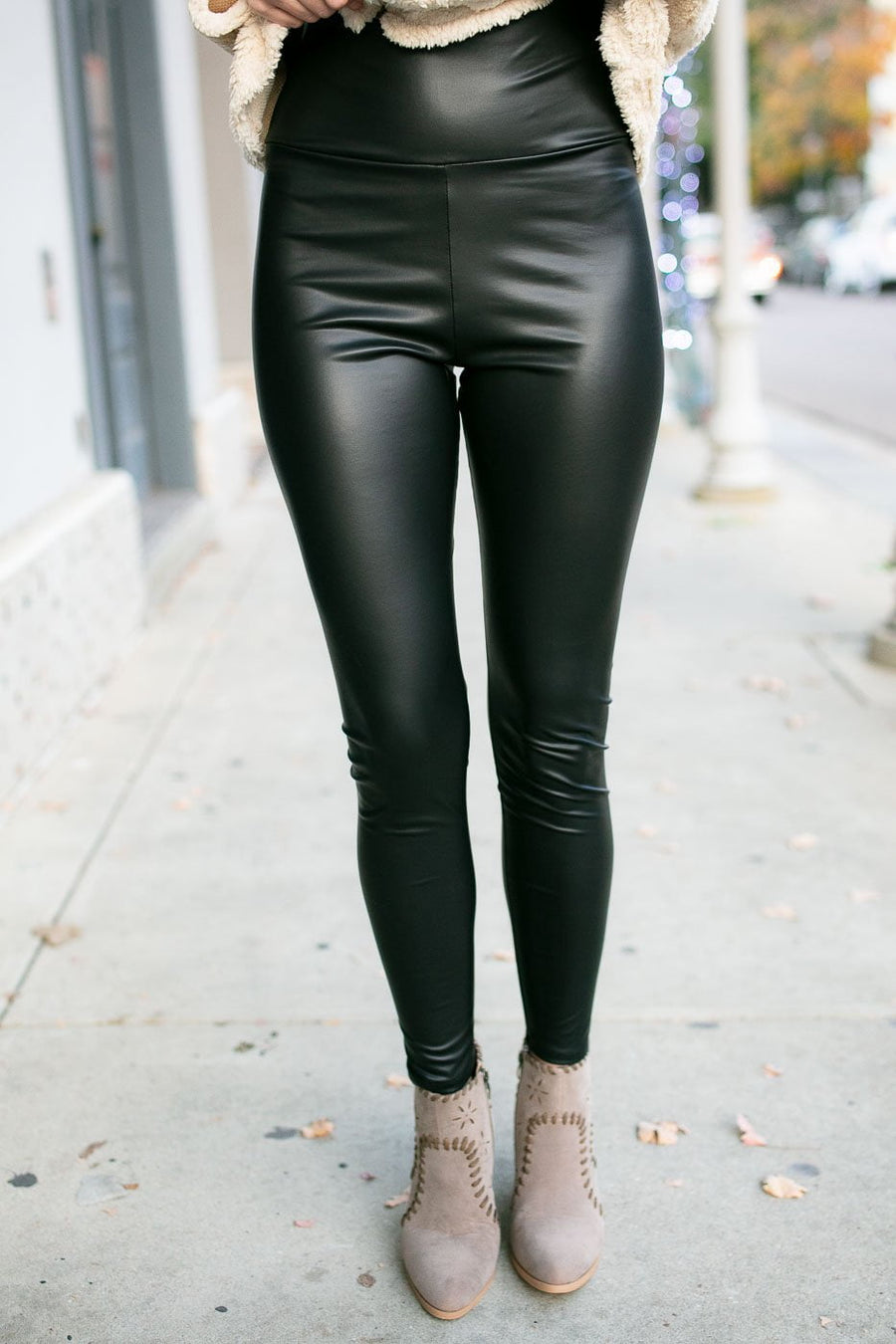 Slim Look Faux Leather Leggings