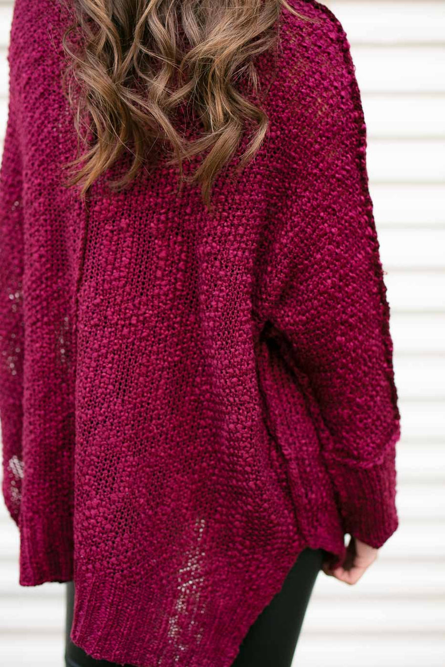 Wine Dolman Sleeve Sweater