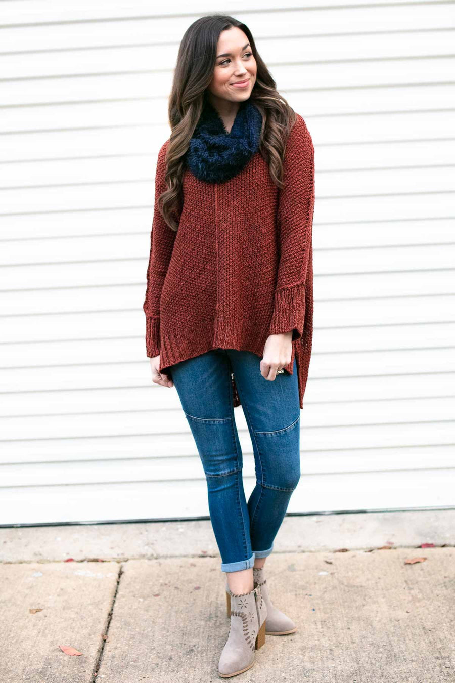 Red Bean Dolman Sleeve Sweater