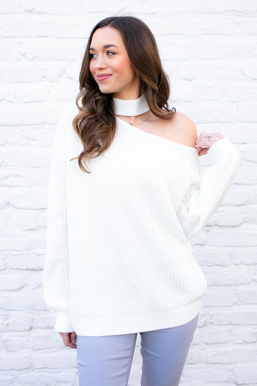 Luci Cut Out Ivory Sweater