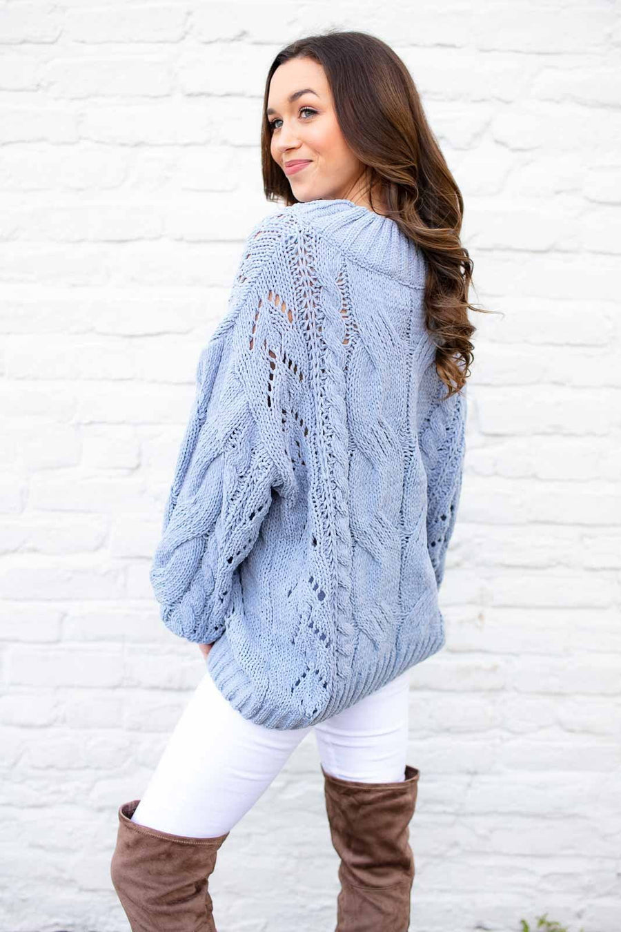 The Blair Soft Blue Chenille Sweater