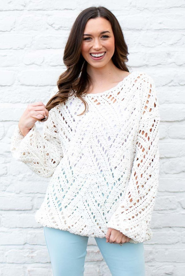 Ivory Open Knit Sweater