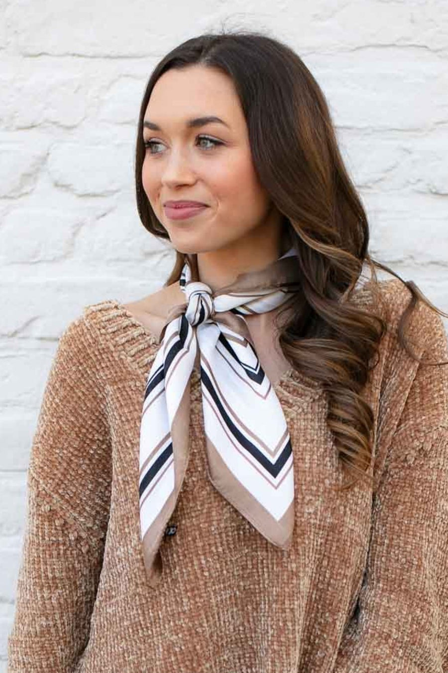 Retro Taupe Stripe Neck Scarf