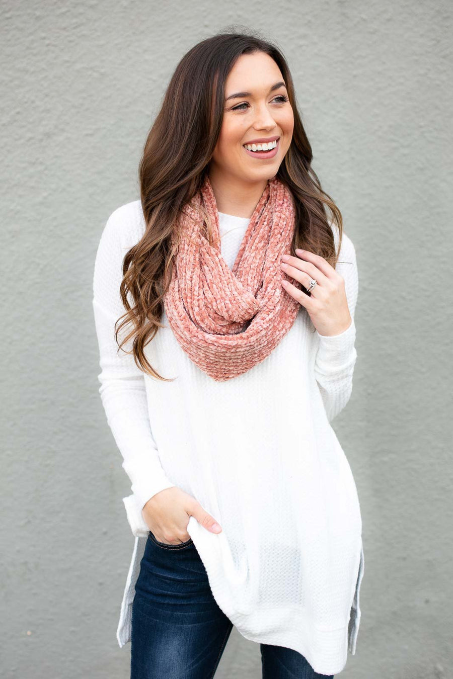 Coral Chenille Infinity Scarf
