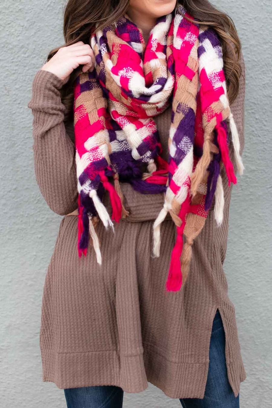 Pop Culture Fuchsia Plaid Tassel Scarf