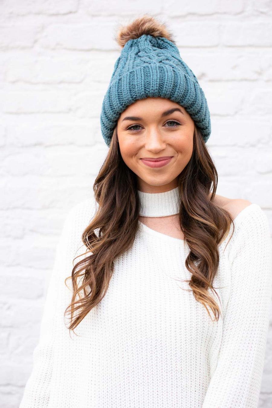 Cable Knit Teal Beanie