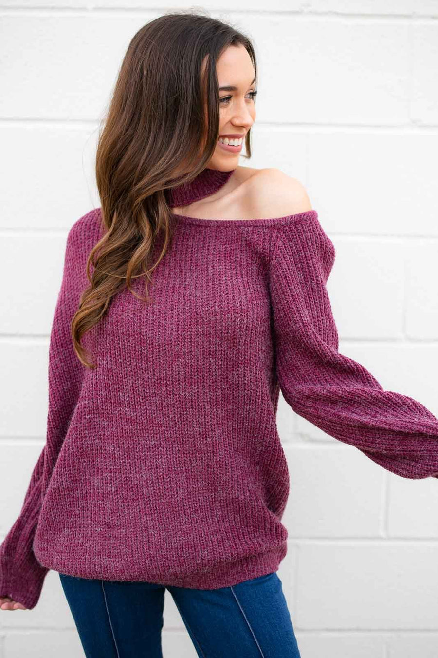 Luci Cut Out Grape Sweater