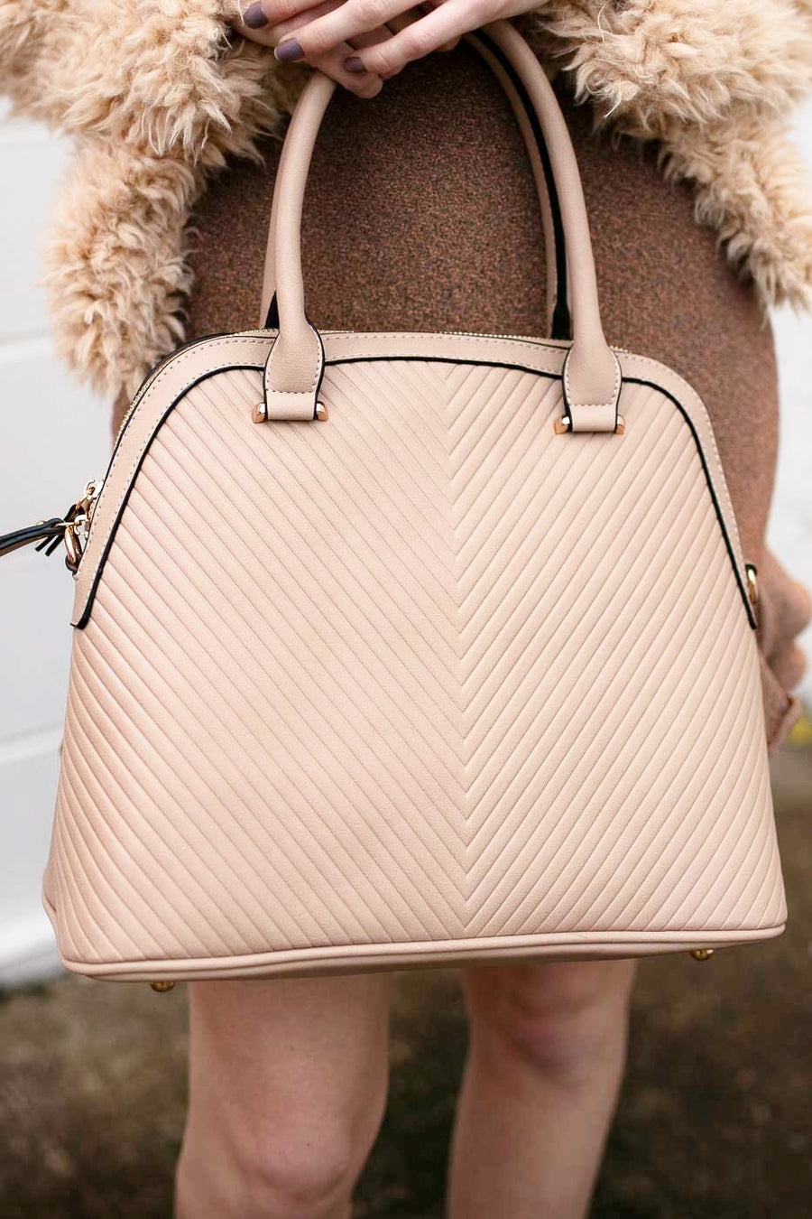 Nude Chevron Quilted Classic Purse