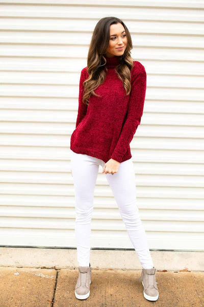 Chenille Red Sweater
