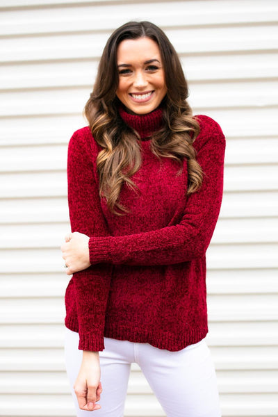 Turtleneck Chenille Sweater- Red