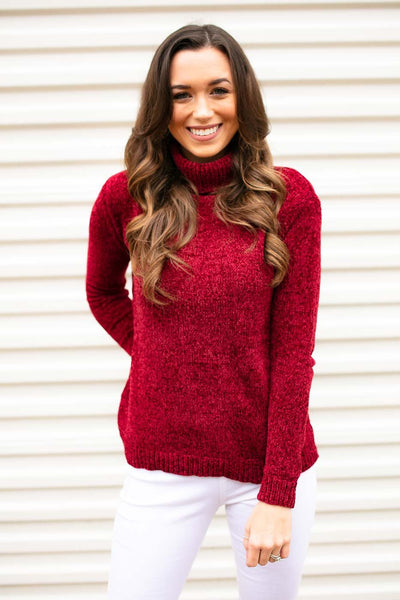 Red Turtleneck Chenille Sweater
