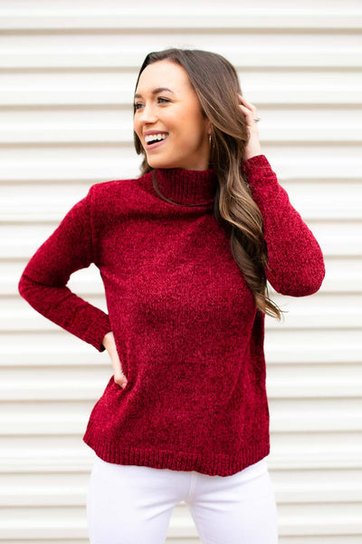 Red Chenille Turtleneck Sweater