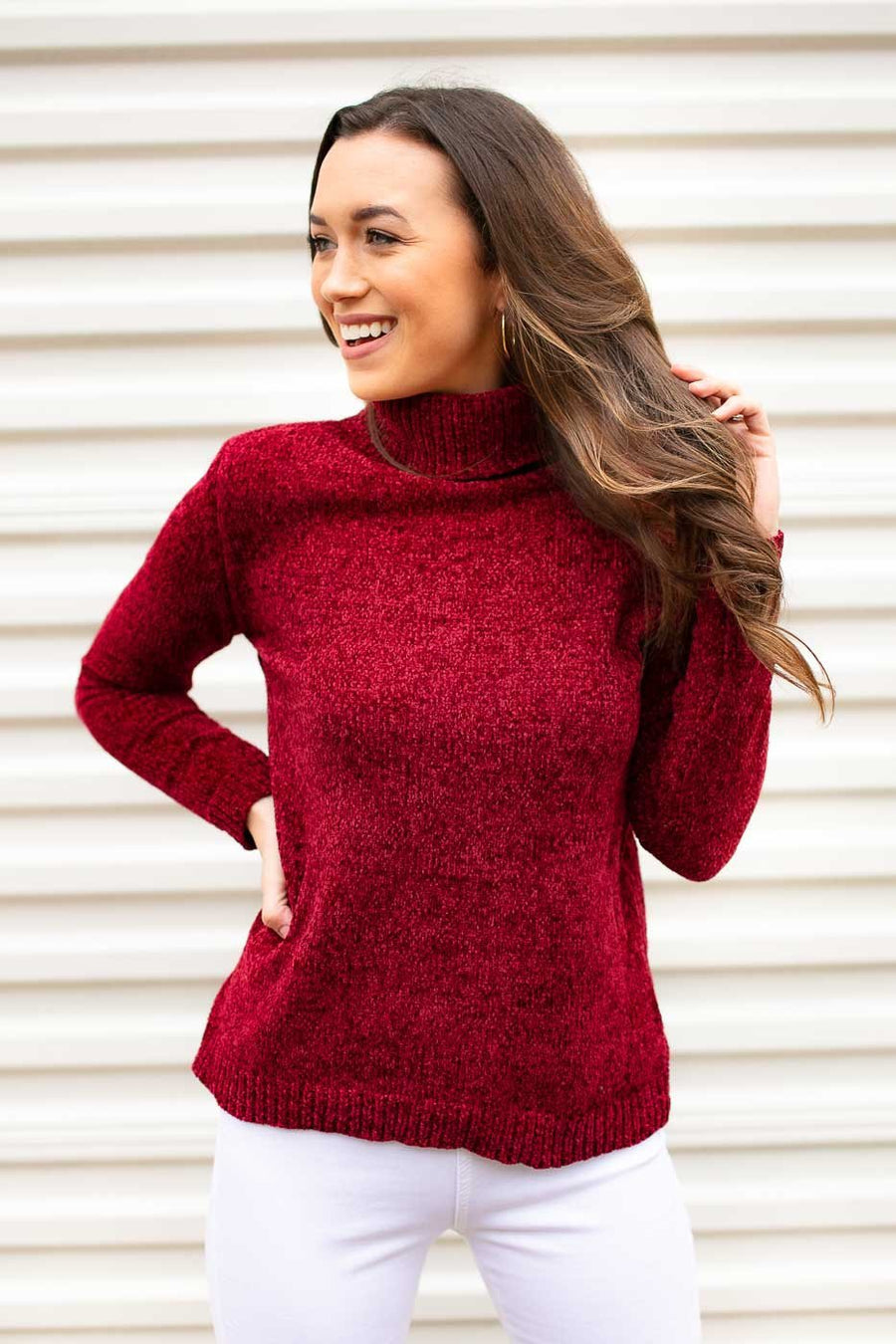 964d87fb60 Turtleneck Chenille Red Sweater