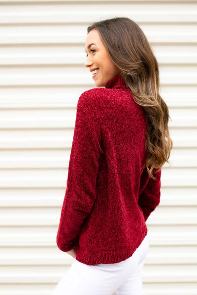 Turtleneck Red Chenille Sweater