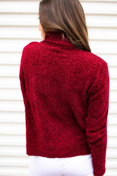 Chenille Sweater- Red