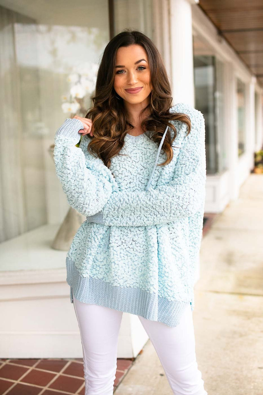 Light Blue Popcorn Pullover