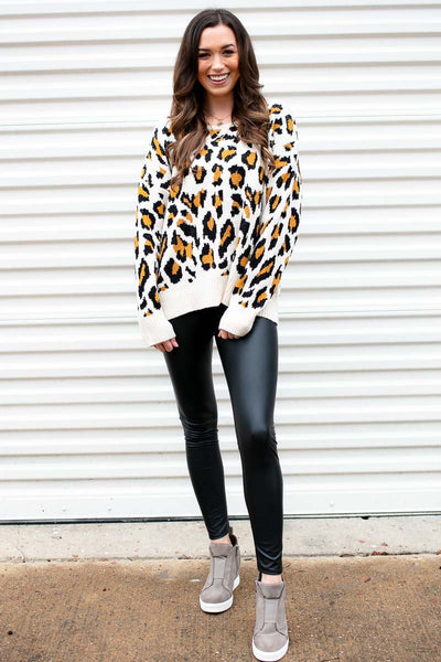 Open Back Leopard Sweater