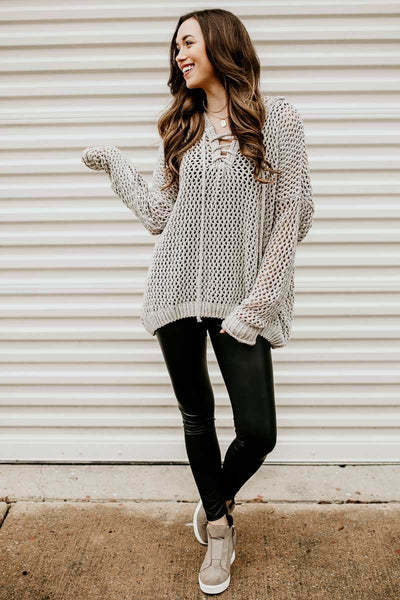 Chenille Mesh Grey Sweater
