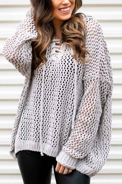 Mesh Chenille Grey Sweater