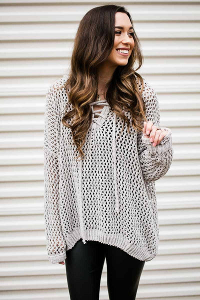 Grey Chenille Mesh Sweater