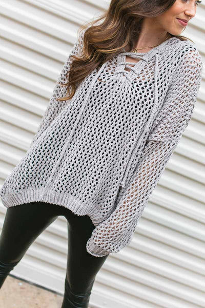 Chenille Grey Mesh Sweater