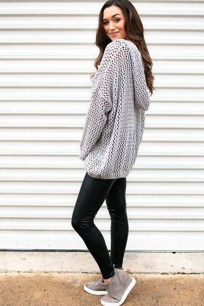 Mesh Grey Chenille Sweater