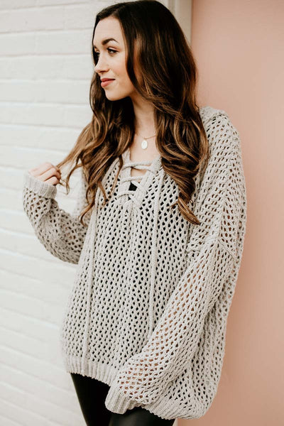 Chenille Mesh Hooded Sweater