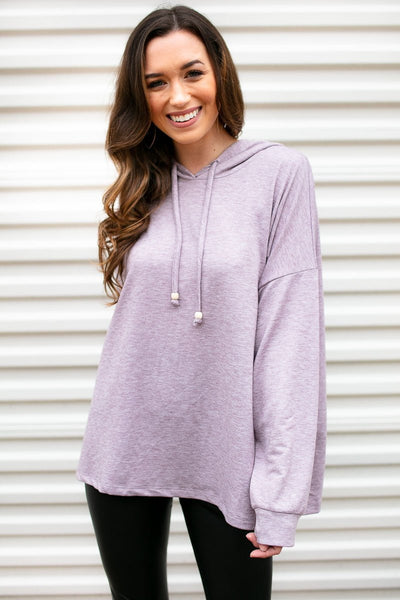 Lavender Pullover Top With Hood