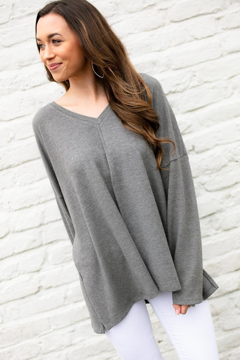 Grey Dolman Sleeve Top