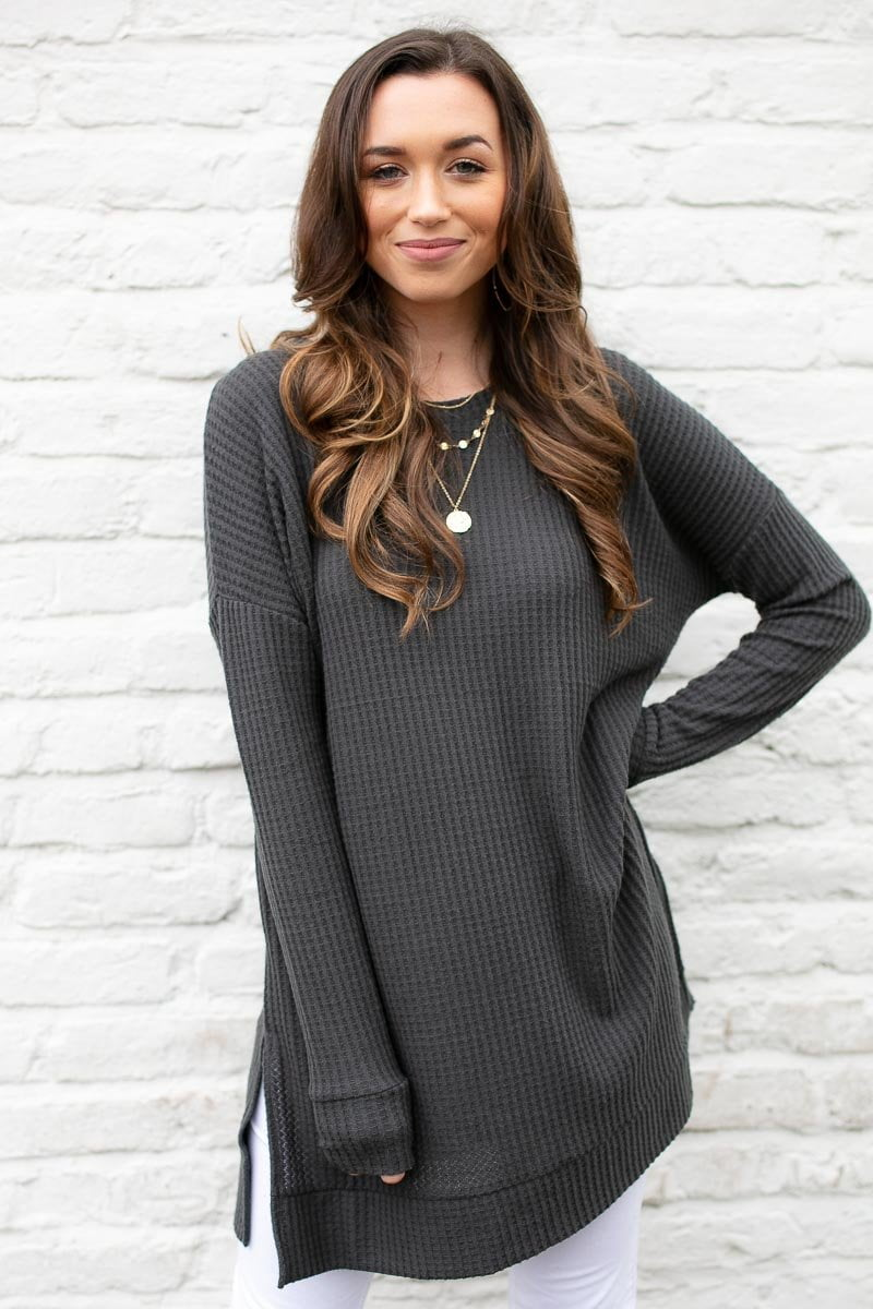 Claire Bear Charcoal Waffle Knit Tunic