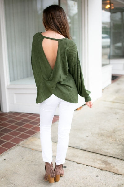 So Prepared Olive Open Back Top