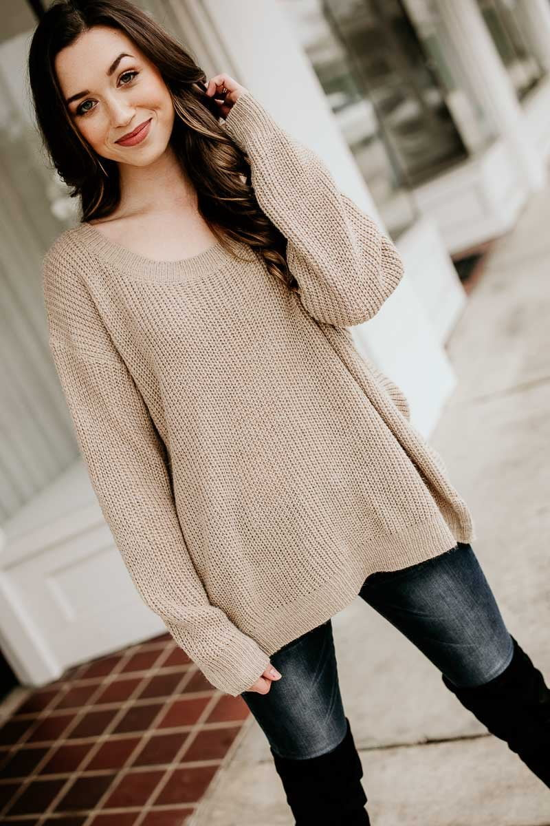 Beige Open Back Sweater