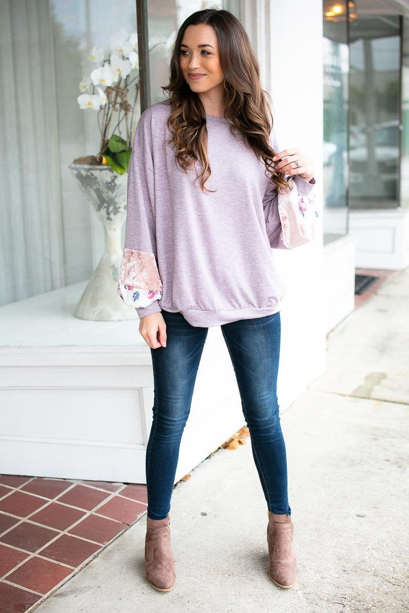 Crushed velvet sleeve top