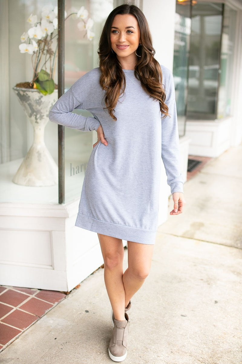 Take A Break Light Grey Sweatshirt Dress