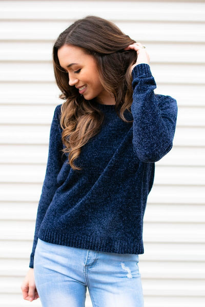 Chenille Sweater- Blue