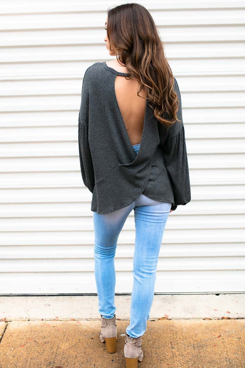 So Prepared Knit Open Back Top