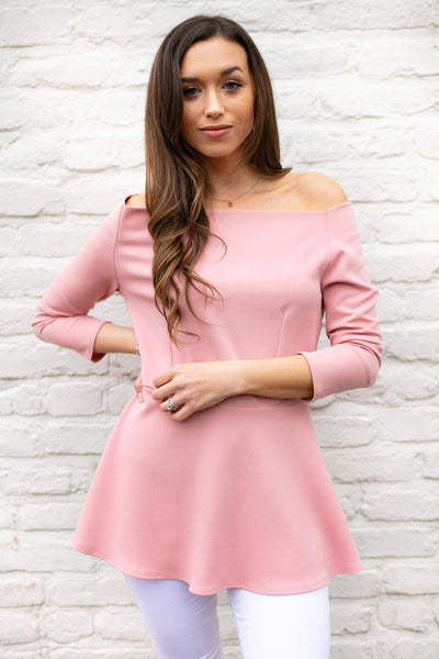 Good Habits Off Shoulder Peplum Top in Pink