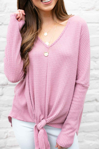 Falling for You Tie Front Top in Mauve