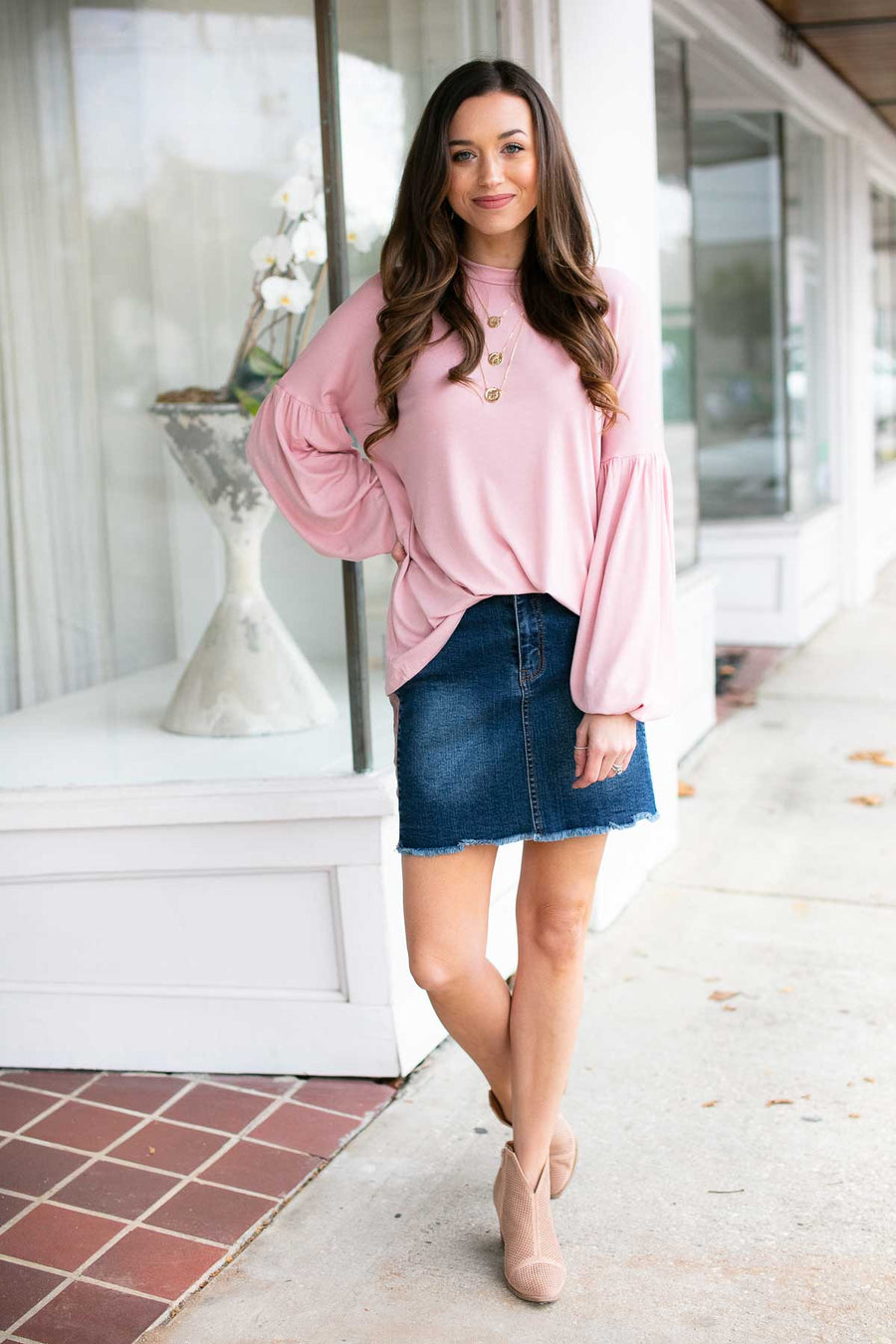 Your Very Best Bubble Sleeve Top in Blush