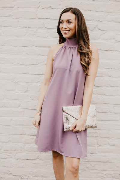 Harper Halter Neck Dress in Dusty Lavender