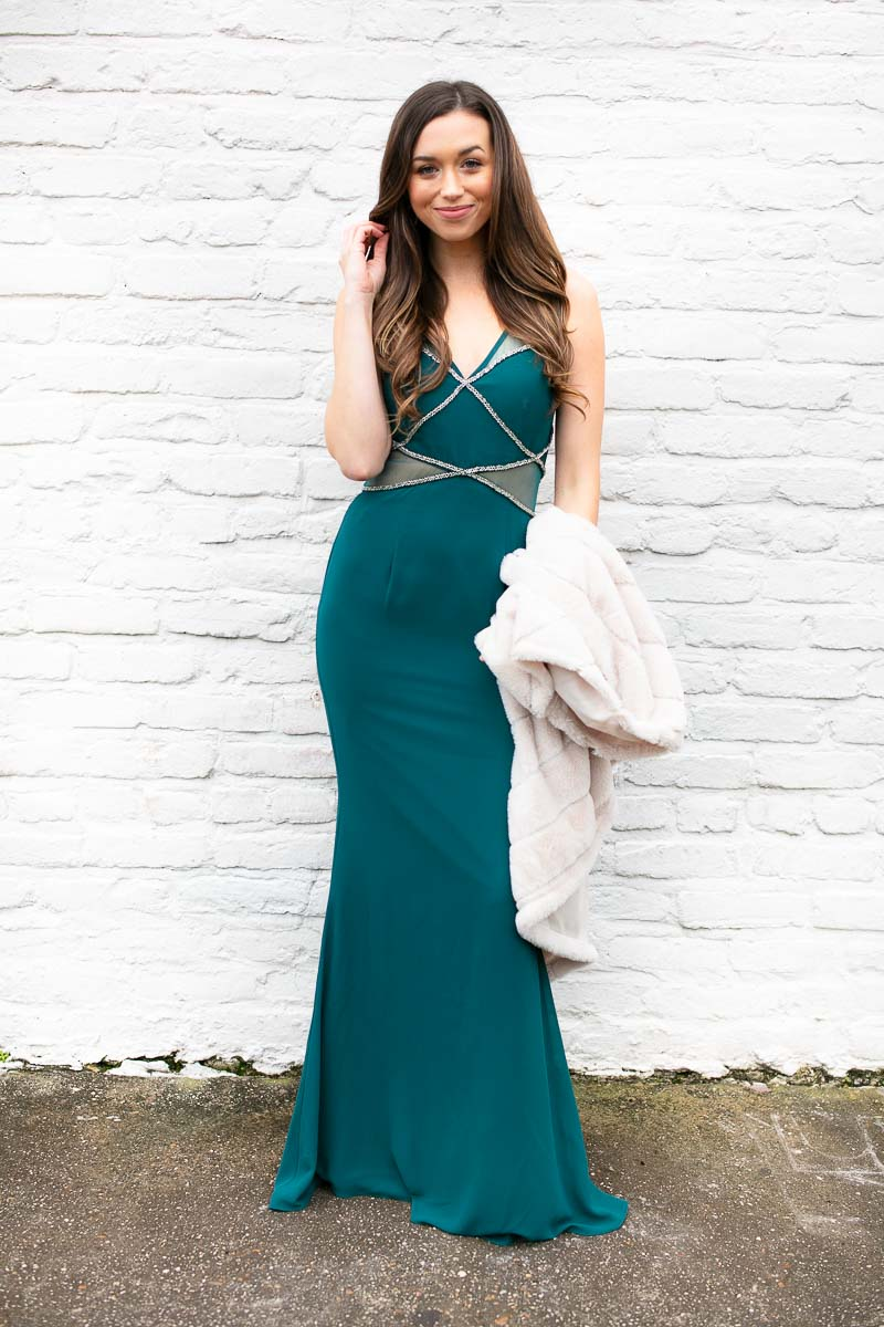 dec47315d3e Shades Of Cool Teal Mesh Detail Gown