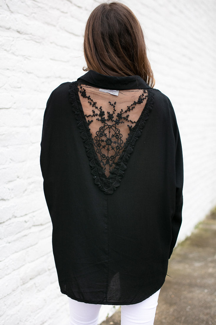 Open Lace Back Long Sleeve Blouse