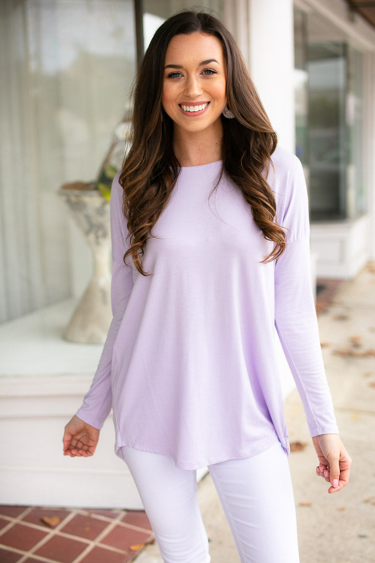 Lilac Dolman Sleeve Open Back Top
