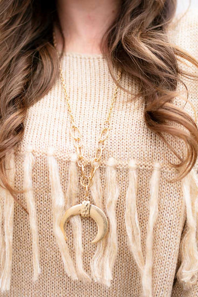 Bulky Chain Gold Crescent Necklace