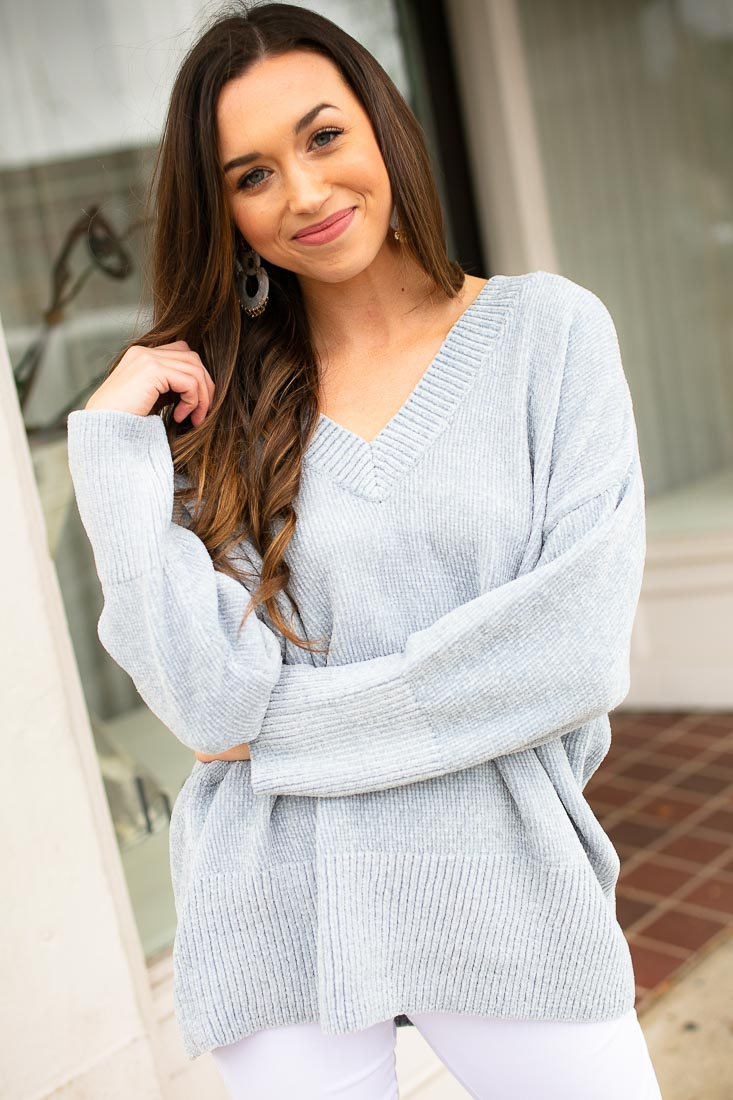 Baby Blue Chenille Women's Sweater