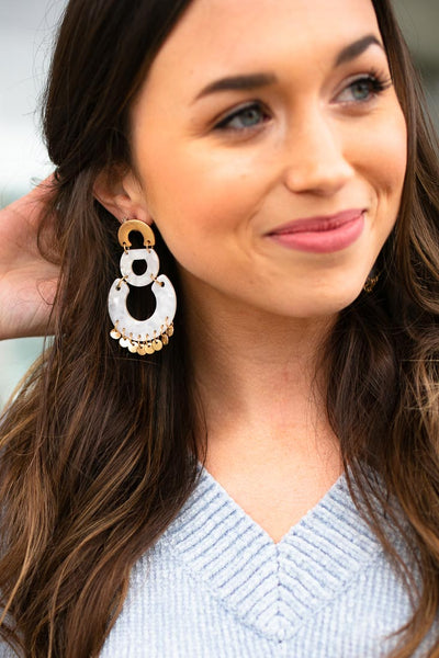 White Resin Statement Earrings