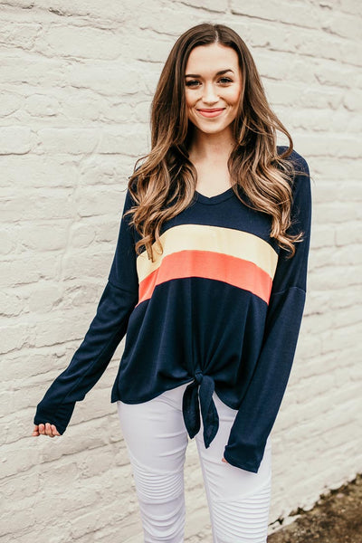 Stripe Detail Thermal Tie Top