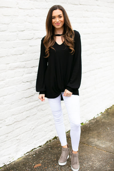 Black Bubble Sleeve Knot Front Top