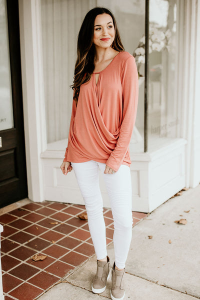 Rose Surplice Front Long Sleeve Top